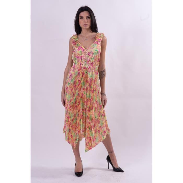 Robe à motif floral et plissè Guess - W1GK1CWCUN0