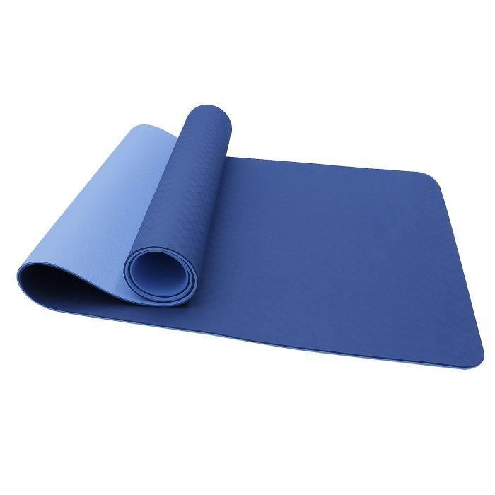 Oudort Tapis de Yoga en TPE, Antidérapant et Durable, Tapis de Sol Fitness, Tapis de sport avec Sangle de Transport - Bleu