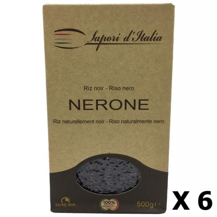 Lot 6x Riz noir Nerone Italie boîte 500g Carton de 12 x 500GR