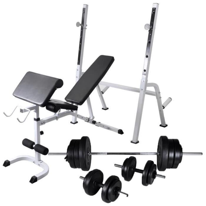 vidaXL Banc d'entraînement et support de poids jeu d'haltères 60,5 kg