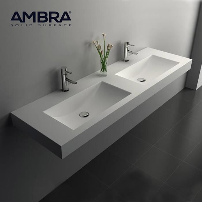 grande vasque double suspendue 150 cm en solid surface nikita blanc achat vente lavabo. Black Bedroom Furniture Sets. Home Design Ideas