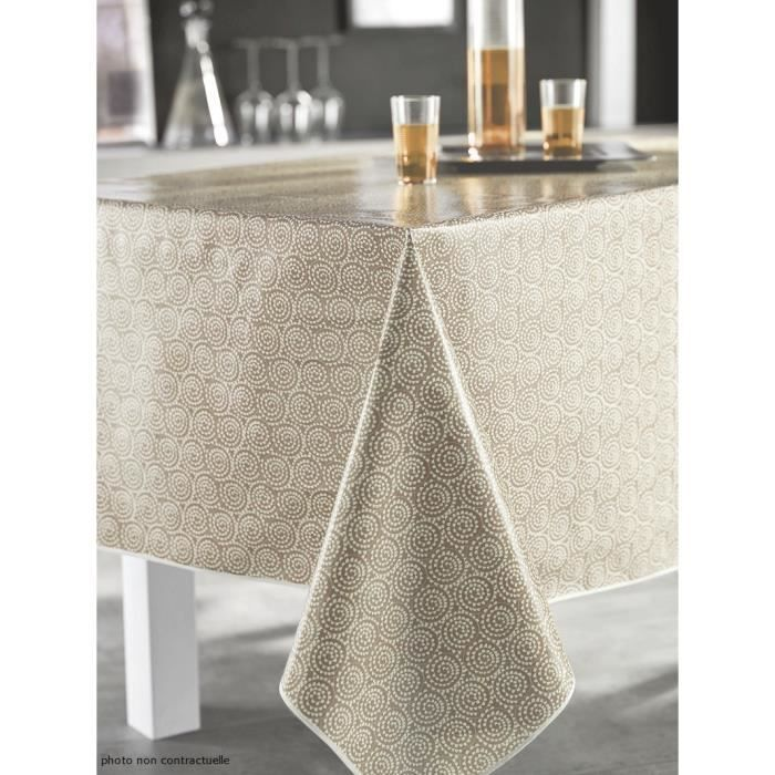 nappe en toile cir e ronde 140 cm saigon taupe achat vente nappe de table cdiscount. Black Bedroom Furniture Sets. Home Design Ideas