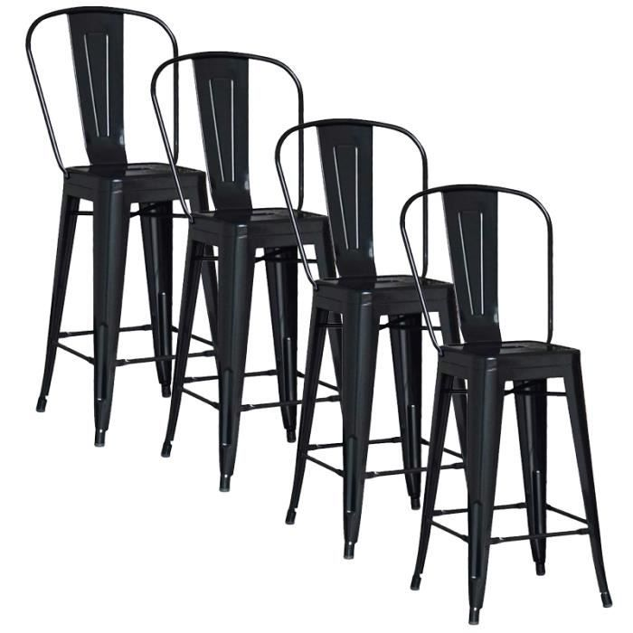 lot de 4 chaises de bar m tal loft laqu noir achat vente tabouret de bar noir soldes. Black Bedroom Furniture Sets. Home Design Ideas