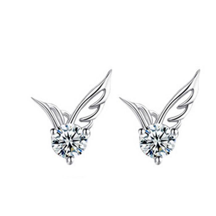 Fashion Silver//Rose Ailes d/'Ange Blanc Saphir-clous personnalité Clous D/'Oreilles