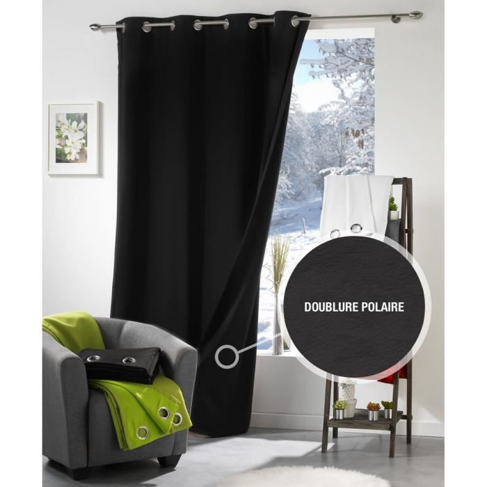 rideau semi occultant thermique 140x260 cm island noir achat vente rideau cdiscount. Black Bedroom Furniture Sets. Home Design Ideas