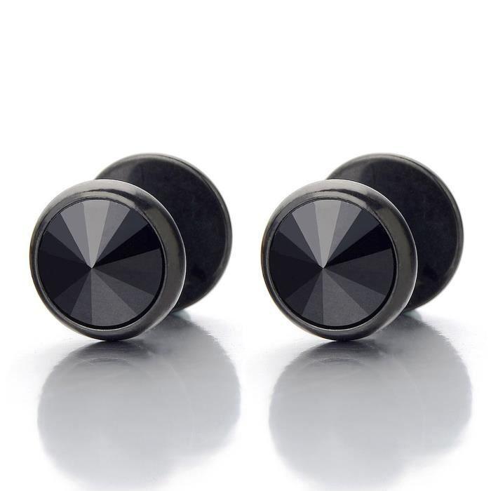 Bouchon Faux Cheater Fake Gauges Plugs Acier Homme Femme Or Cercle Boucles doreilles avec Noir Blanc Zircon Cubique