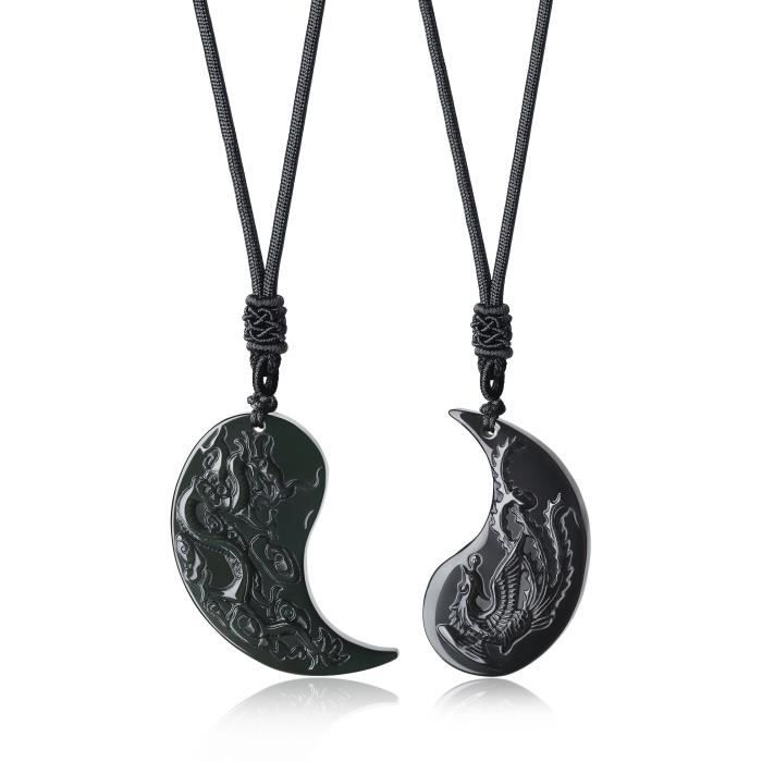 Pierre naturelle plaqué argent dragon collier pendentif sur Noir Cordon