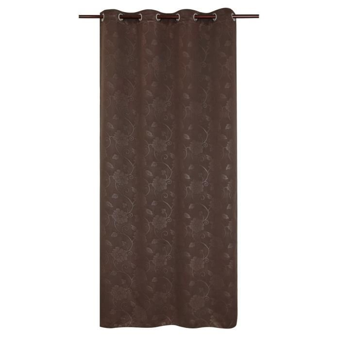 rideau occultant fleurs scandinave 140x260 cm chocolat achat vente rideau cdiscount. Black Bedroom Furniture Sets. Home Design Ideas