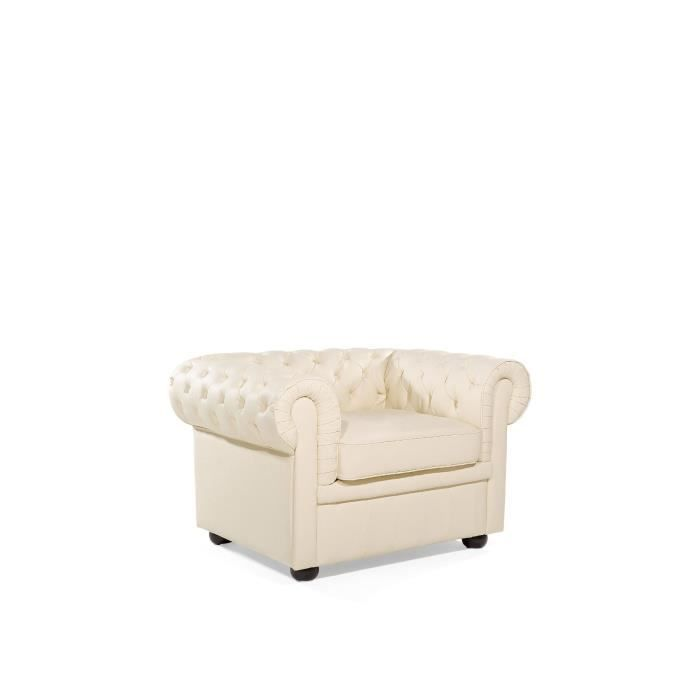 fauteuil en cuir beige chesterfield achat vente fauteuil cdiscount. Black Bedroom Furniture Sets. Home Design Ideas