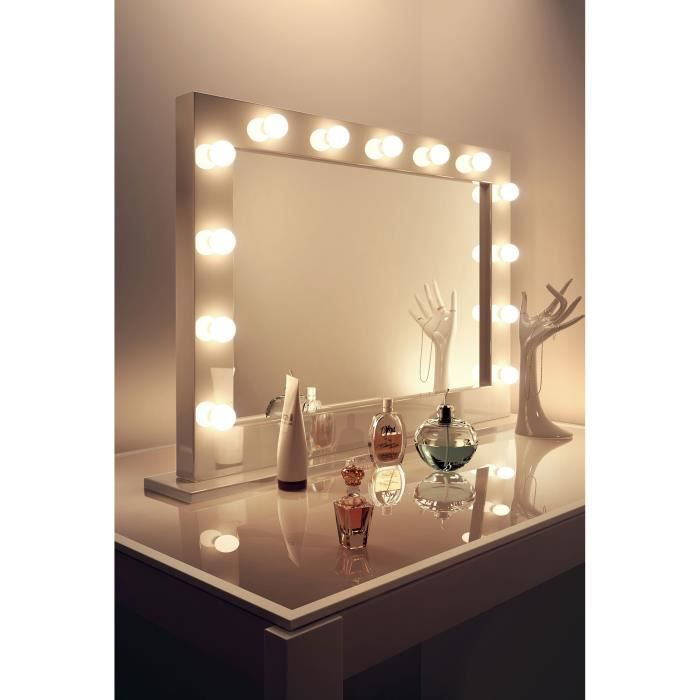 Miroir de maquillage hollywood brillant blanc lampes del - Coiffeuse miroir led ...