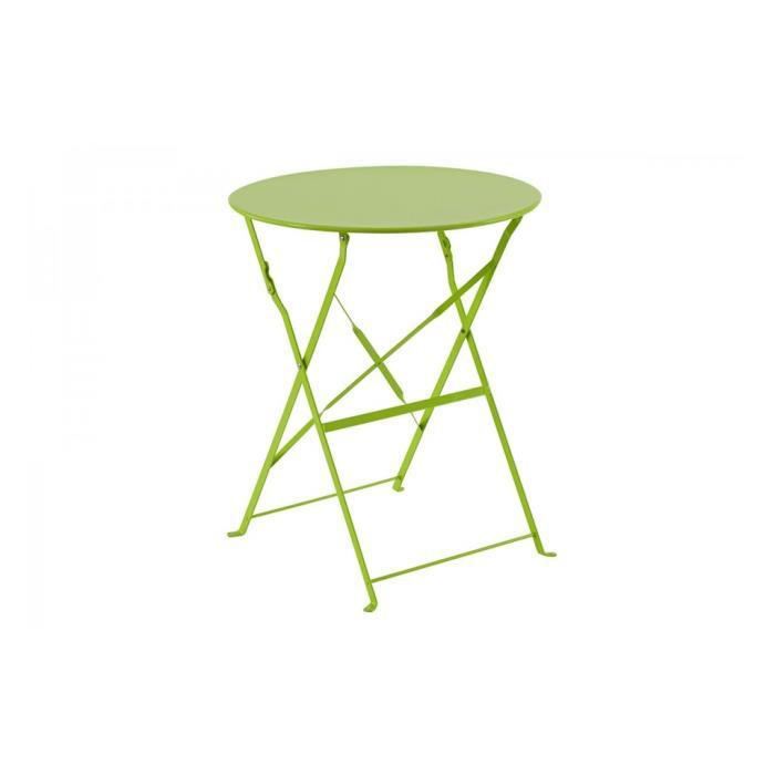 Table metal pliante ronde vert camargue hesperide achat - Set de table pour table ronde ...