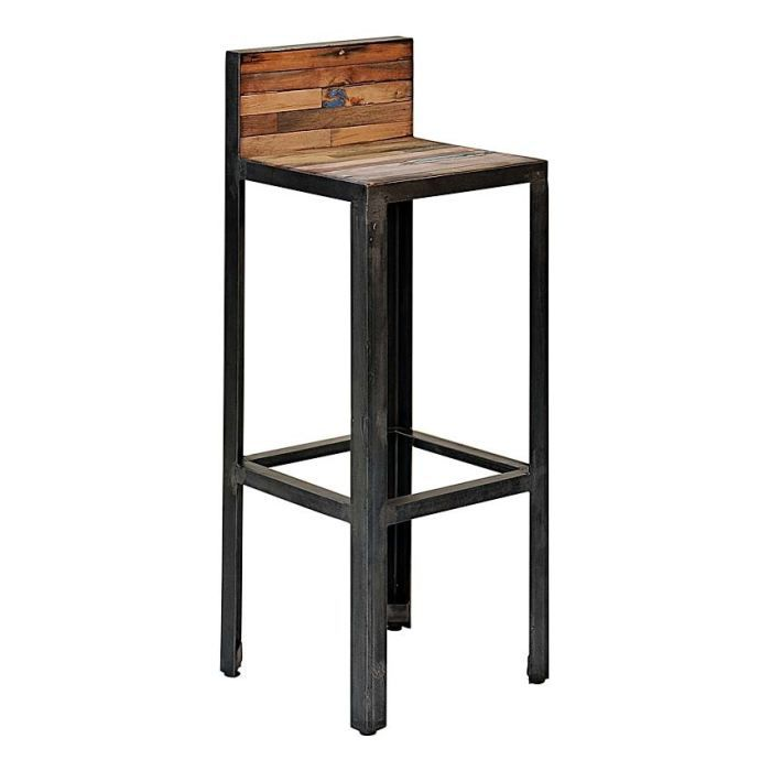 tabouret de bar avec dossier besi inwood achat vente. Black Bedroom Furniture Sets. Home Design Ideas