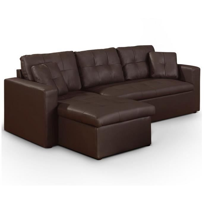 canap d angle convertible bosier marron achat vente canap sofa diva. Black Bedroom Furniture Sets. Home Design Ideas