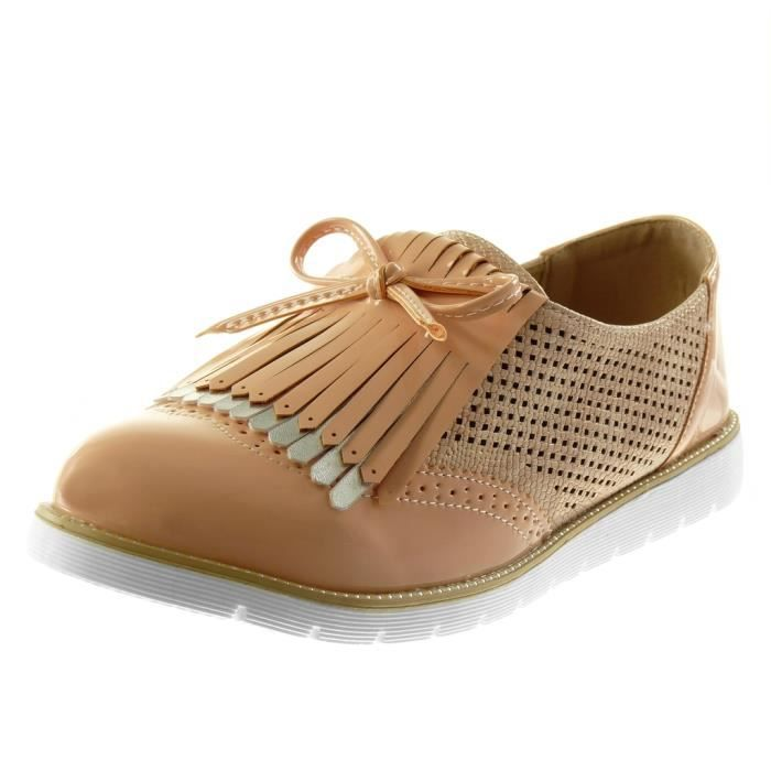 Angkorly - Chaussure Mode Derbies slip-on semelle basket femme frange noeud perforée Talon compensé 2.5 CM - Rose - G1530 T 39