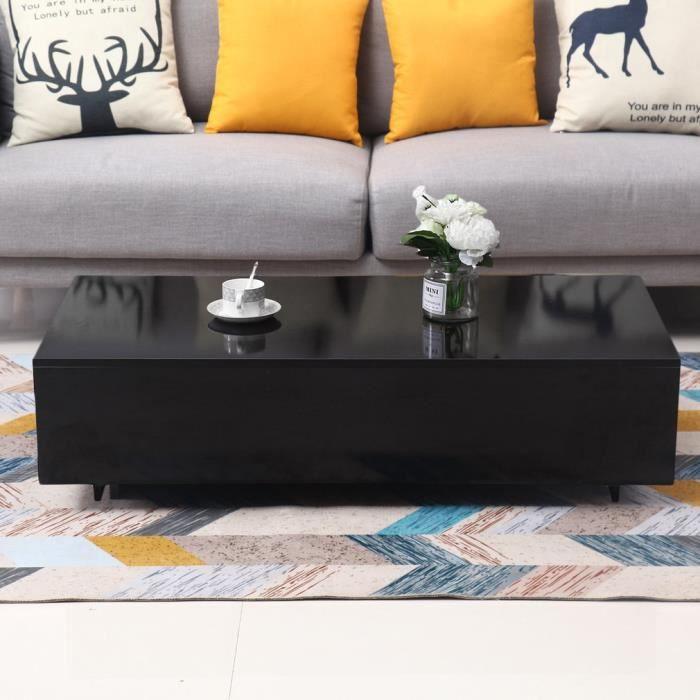 Table Basse Moderne Mdf Tout Noir Pour Salon Sejour Bureau 109 54