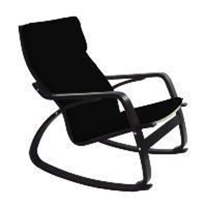 rocking chair willy en noir achat vente chaise noir cdiscount. Black Bedroom Furniture Sets. Home Design Ideas