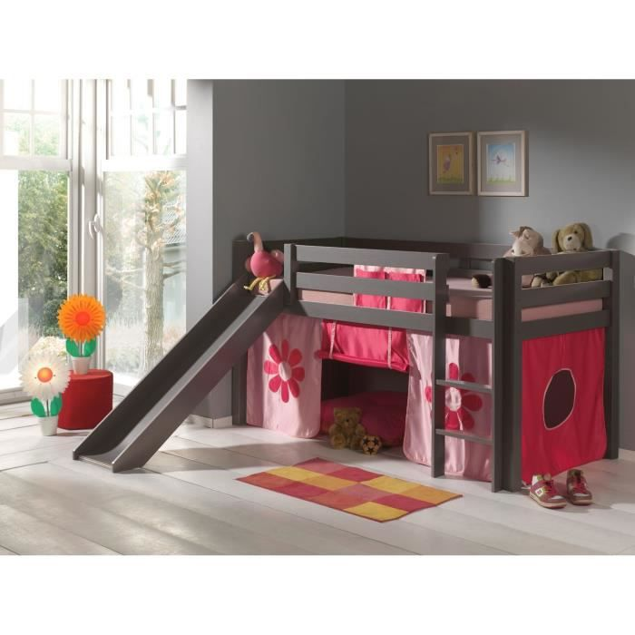 pino lit enfant mezzanine toboggan taupe pink achat. Black Bedroom Furniture Sets. Home Design Ideas