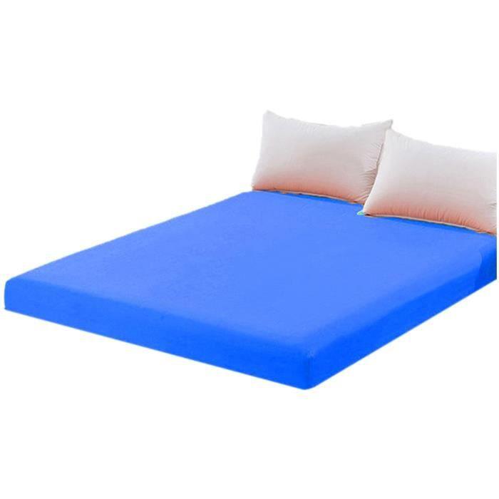 JETÉE DE LIT - BOUTIS Cotton Solid Color Fitted Sheet Coverlet Dark Blue