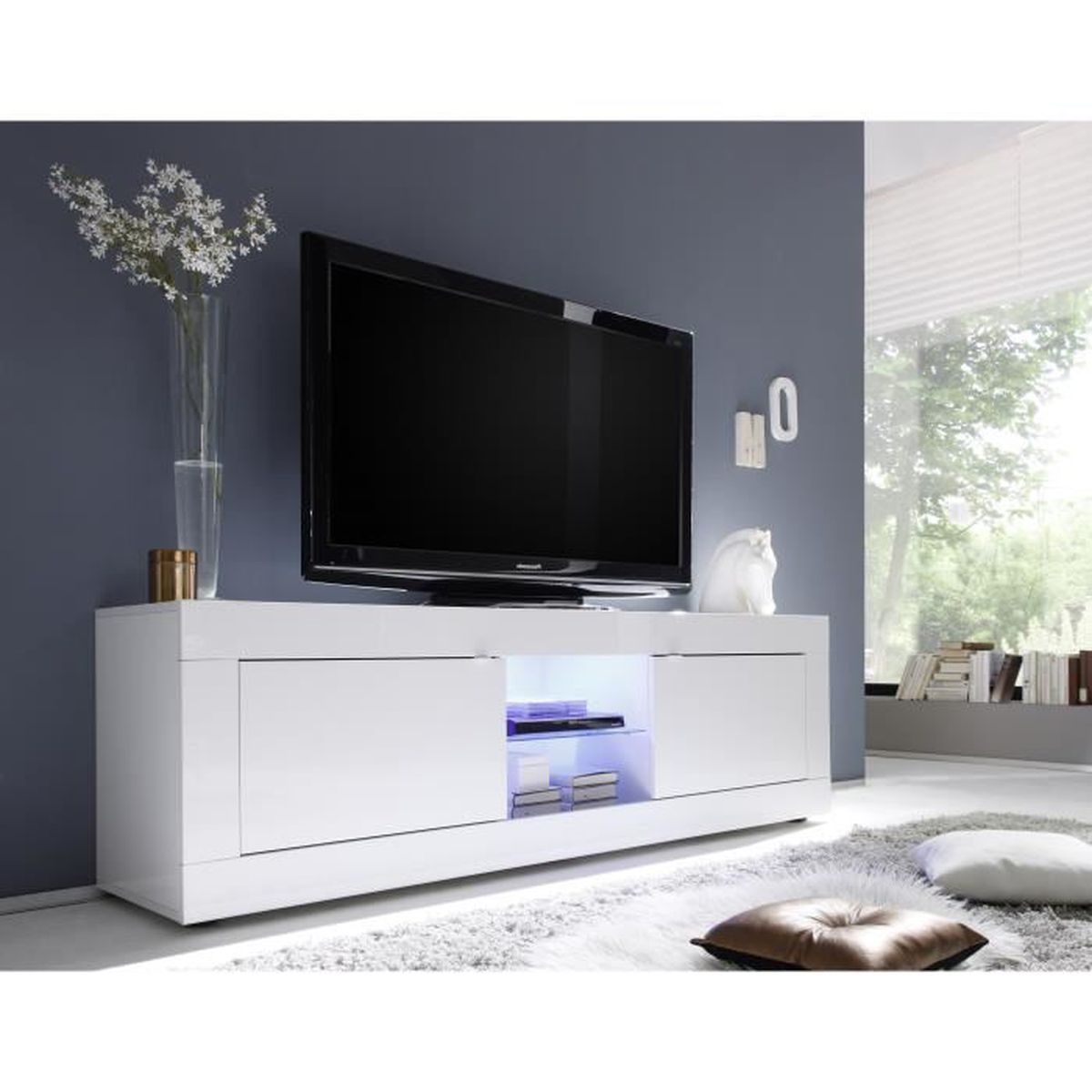grand meuble tv moderne laque meuble house blanc achat vente meuble tv grand meuble tv. Black Bedroom Furniture Sets. Home Design Ideas