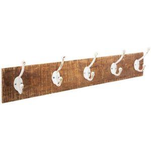 PATÈRE Atmosphera - Patère en bois 5 crochets en métal bl
