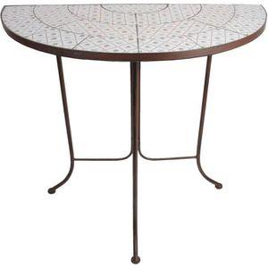 Table demi-ronde en céramique et métal Botanicae Marron ...