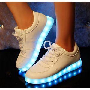 BASKET LED allumé chaussures sneakers haut de cuir PU pou