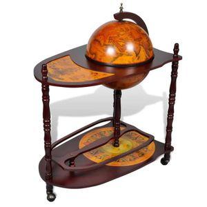 MEUBLE RANGE BOUTEILLE Bar globe avec table et roulettes