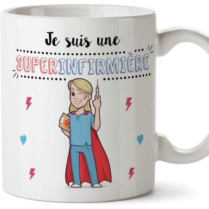 Infirmière Tasses Originales de café et Petit-déjeuner -Je suis Une Super Infirmière - Céramique 350 ML 1