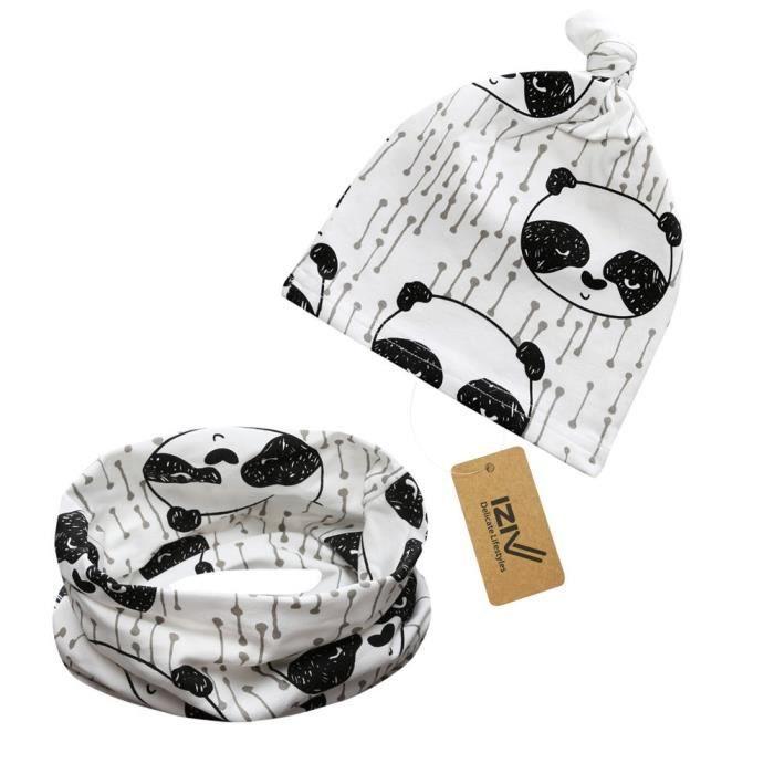 iZiv Bébé Garçon Fille Unisexe Mignon Mode Chapeau et Echarpe Bavoir Bananda, Coton Doublure Douce Printemps 0-2 ans (Panda)