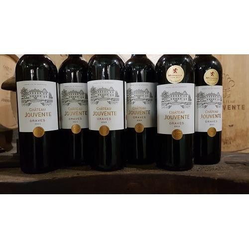 Lot de 6 bouteilles - Château Jouvente Graves rouge Grands vins matures - millésimes 2008/2011/2012