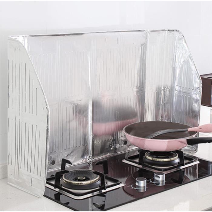 Plaque Anti-Projections de Cuisson Déflecteur D'huile Feuille D'aluminium Pliable Protection D'écran de Cuisine,120×50cm
