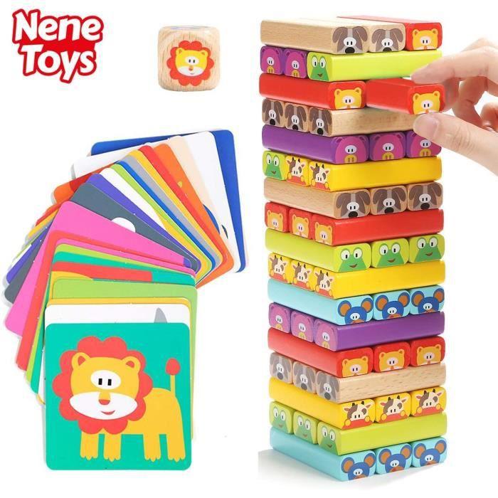 Nene Toys – Tour de Blocs Empilables en Bois avec Couleurs et Animaux - Jeu d'adresse et d'équilibre 4 en 1 pour Filles et Garçons d