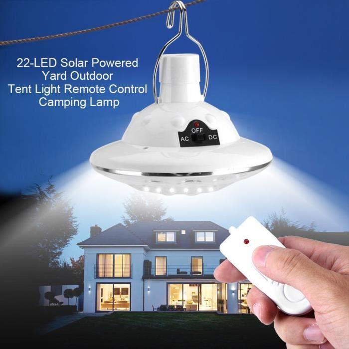 Nouveau 22LED Extérieur - Intérieur Lampe solaire Accrocher Camp jardin d'éclairage Télécommande Lumière de camping 30