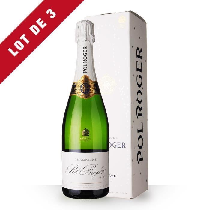 3X Pol Roger Brut Réserve 75cl - Etui - Champagne