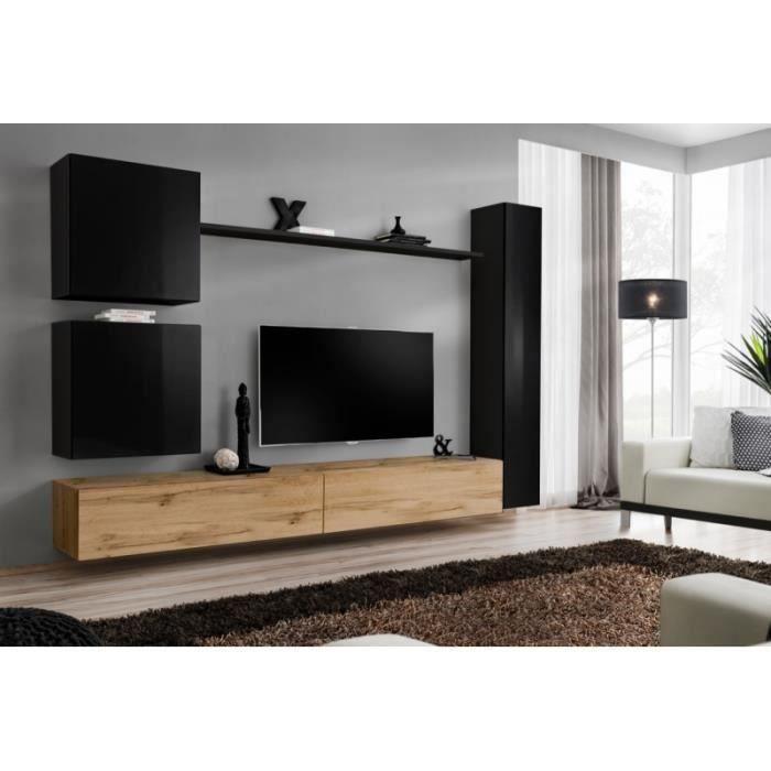 Ensemble meuble pour salon, mural, SWITCH VIII.Meuble TV mural design, coloris chêne Wotan et noir brillant.