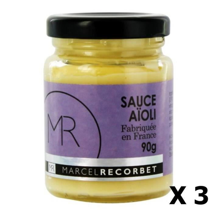 Lot 3x Sauce aïoli - Fabriquée en France - MR - pot 90g