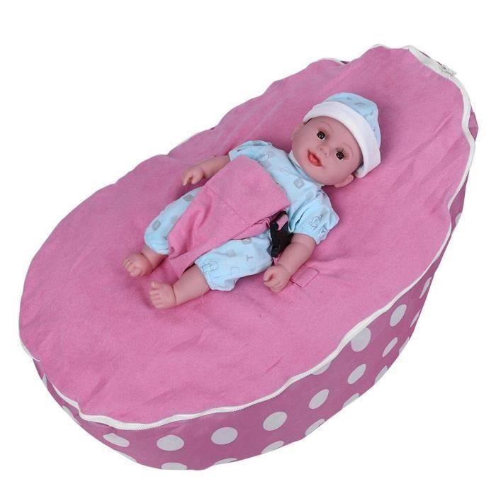 Lit de couchage pour bébé base de sac de haricots pour enfant sans assis remplissage et rose -SEC