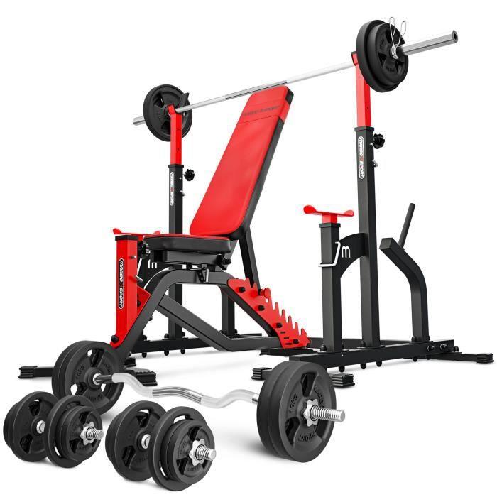 Marbo Sport Set MS2 170KG Kier - Banc de musculation + support d'haltères (connecté) + barres et disques d'haltères 113 kg