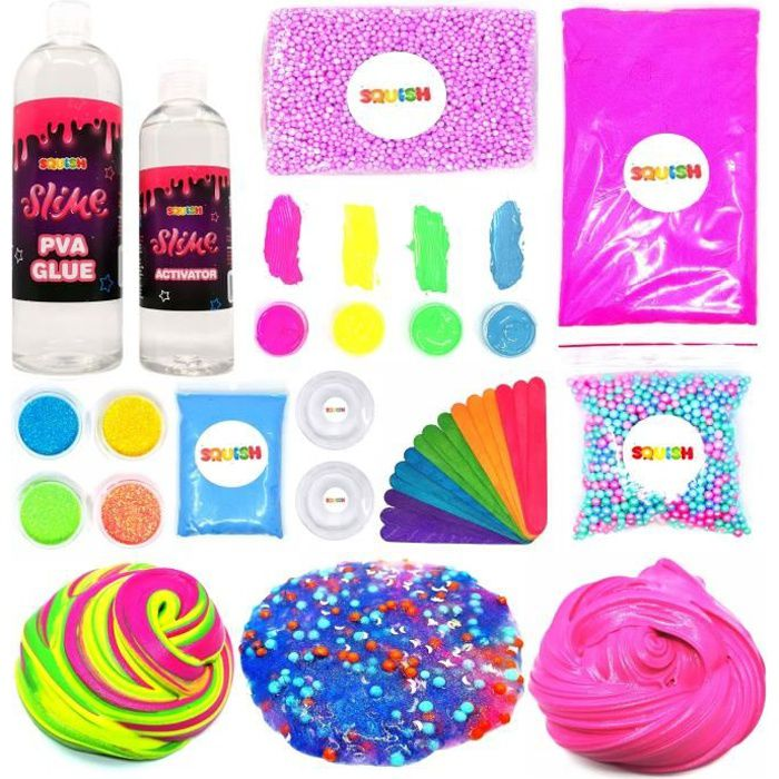 Kit création Slime Set DIY Magic Box 17en1 Activateur Perles Paillettes