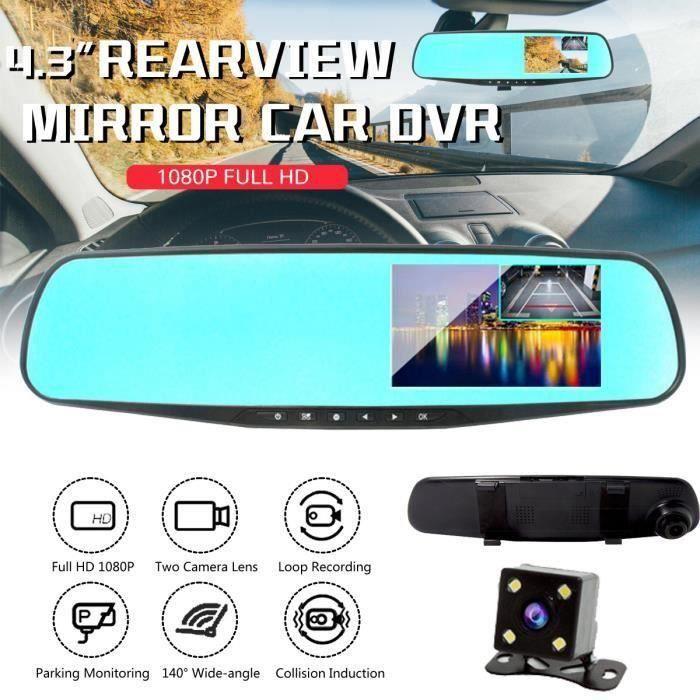 HD 1080P Voiture Caméra Recul Rétroviseur Enregistreur DVR 4.3 Pouces Double Lentille Grand angle Vision nocturne Surveillan My20742