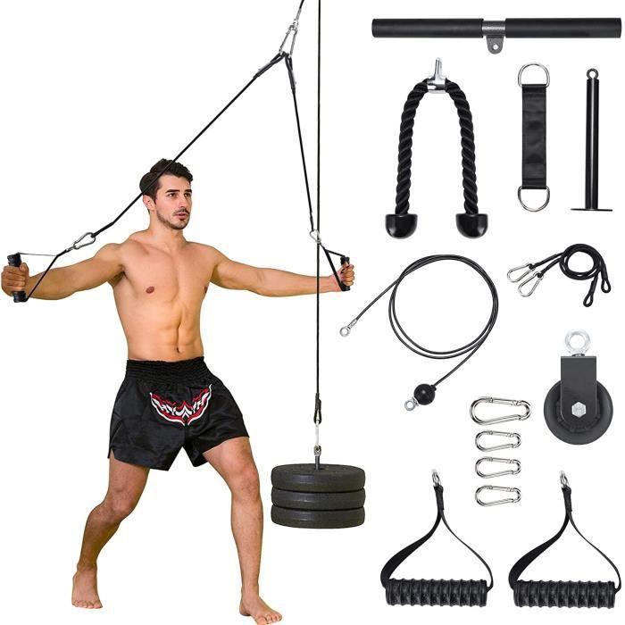 DIP STATION e Musculation 3 en 1 Max Poids 100kg avec 1 Corde Triceps 2 Poigneacutees1 Barre de Poigneacutees agrave la Maison A107