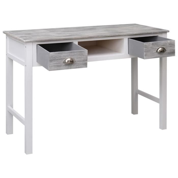 484085 - Design Furniture - Bureau Contemporain - Table de bureau Mobilier Meuble De Bureau Gris 110x45x76 cm Bois