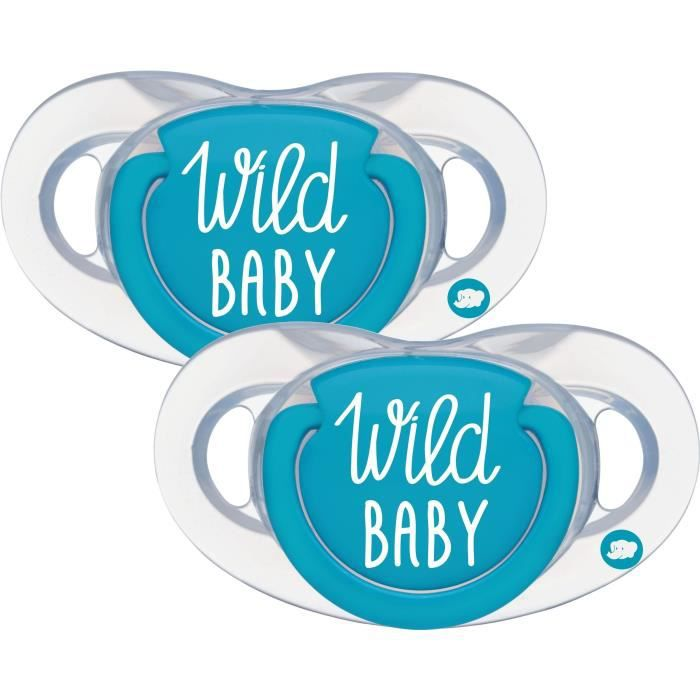 BEBE CONFORTSUCETTE NATURAL PHYSIO - SILICONE 0/6M - X2 WILD BABY - BLEU