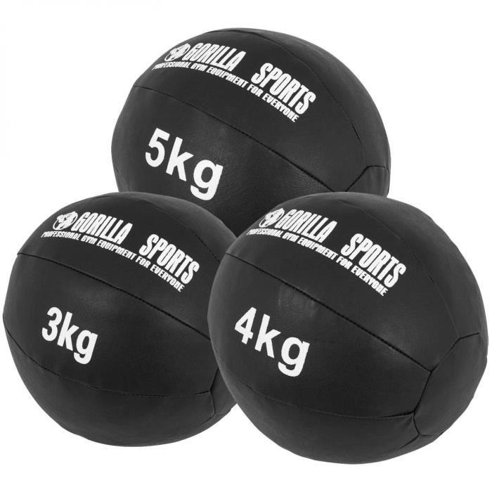 Lot de 3 Médecine Balls en cuir Synthétique - 3, 4 et 5 KG (12 KG)