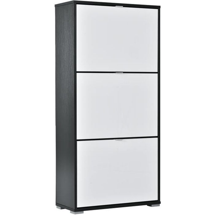 Meuble à chaussures 3 portes abattantes 3 compartiments panneaux particules noir blanc laqué 60x26x124cm Blanc