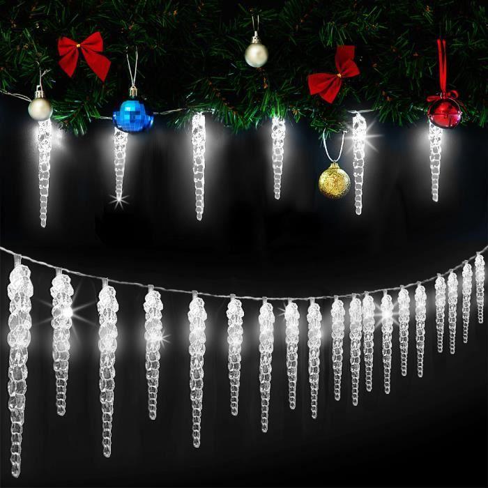 Guirlande lumineuse 40 stalactites LED Noël Blanc Intérieur extérieur Déco fêtes