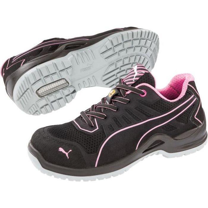 Chaussure de sécurité basse femme Puma Fuse Pink Low ESD S1P SRC - Noir/Rose