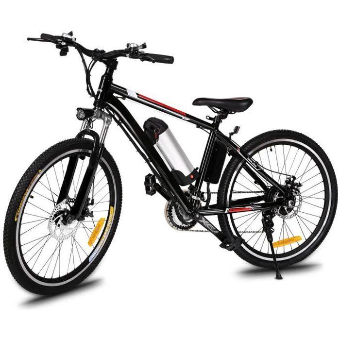 Vélo électrique de montagne 26- roue jante aluminium alliage - VTT homme 21 vitesses EU Prise - Noir