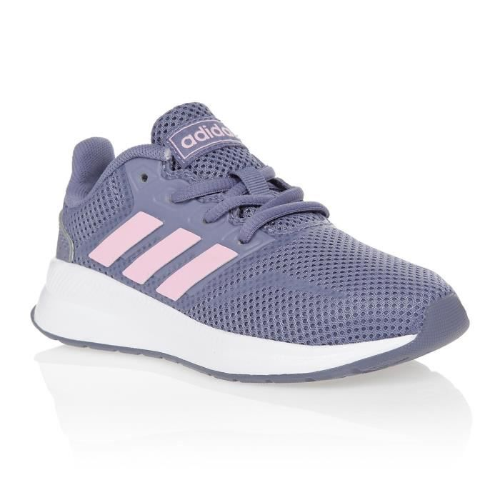 ADIDAS Baskets Run Falcon K - Enfant - Gris et rose