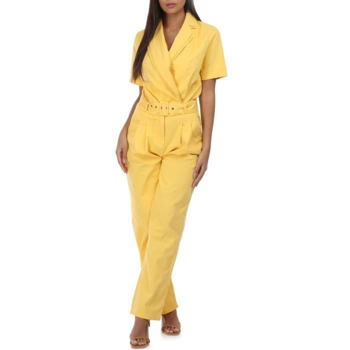 Combinaison en jean jaune col cache coeur